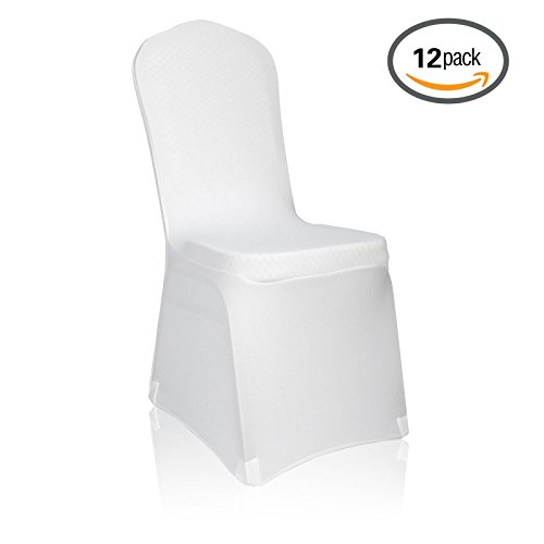[Emart Set of 12pcs White Color Polyester Spandex Banquet Wedding Party Chair Covers] (Masquerade Dresses For Sale)