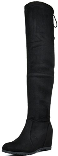 DREAM PAIRS Women's Leggy Faux Suede Over The Knee Thigh High Boots,Black-1,9 M -