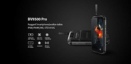 Blackview BV9500 Pro Smartphone, Full Netcom Walkie Talkie Interphone Wireless Fast Charge Android 8.1 Waterproof Dropproof Dustproof 10000mAh 6GB/128GB Dual Satellite Camera 13MP 16MP/0.3MP (Black) by LAIHUI (Image #6)