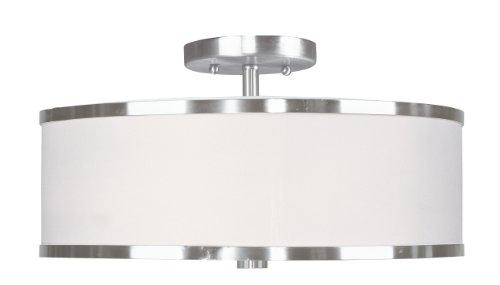 Livex Lighting 6368-91 Park Ridge 3 Light Brushed Nickel Semi Flush Mount with White Hardback Shade