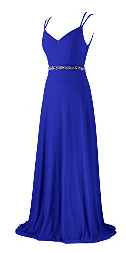 Women Prom Dresses Deep V Neck Beaded Double Spaghetti Straps Backless Maxi Party Evening Dress (7615 Blue, L) (Islamic Prom Dresses)