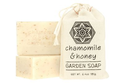 Greenwich Bay Set of 2 - CHAMOMILE HONEY Exfoliating Garden Shea & Cocoa Butter Soap 181g In Cloth Sack (6.4 oz (Anise Drawstring)