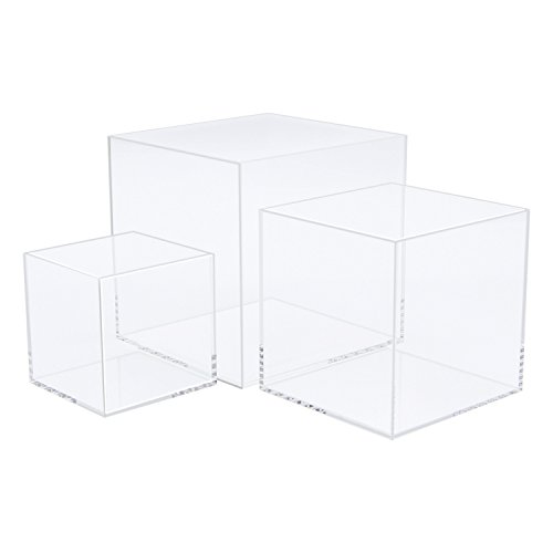 Museum Case - CRUODA Acrylic Display Case,3x3x3&4x4x4&5x5x5 inches, 3pc, Display Box, Museum Box Case, Jewelry Book Showcase (5 Sided Acrylic Cube)