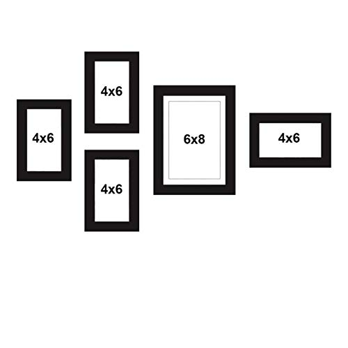 Art Street Set of 5 Black Wall Photo Frame, Picture Frame for Home Decor with Free Hanging Accessories (Size – 4×6, 6×8)