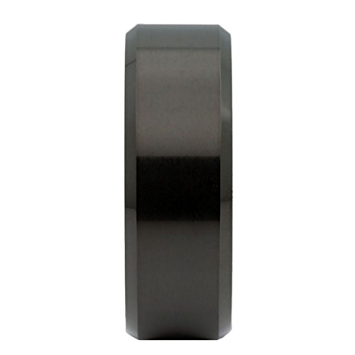 MJ 8mm Black Plated Tungsten Carbide Beveled Edge Wedding Band Ring