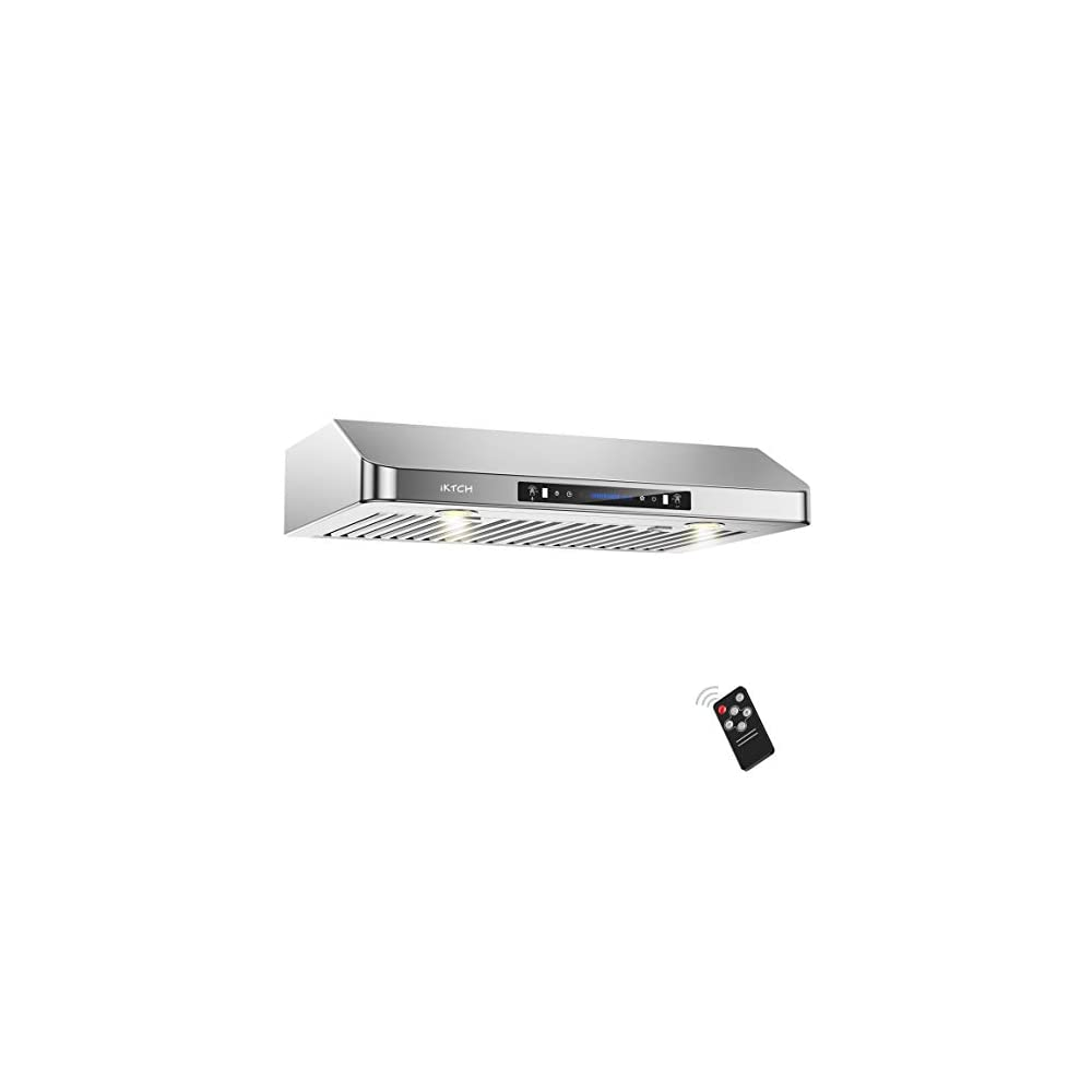 IKTCH 30 Inch Under Cabinet Range Hood with 900-CFM, 4 Speed Gesture Sensing&Touch Control Panel, Stainless Steel…