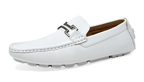 BRUNO MARC NEW YORK Men's Hugh-01 White Faux Leather Driving Penny Loafers Boat Shoes - 8 M US