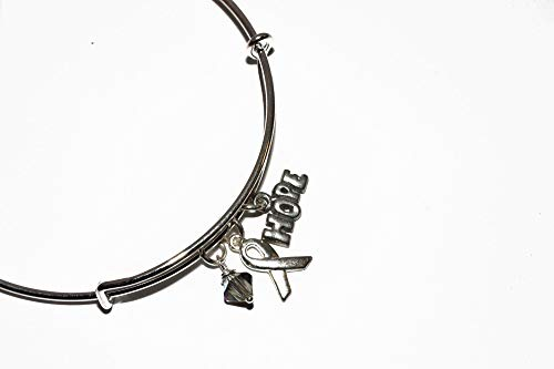(Silver Grey Ribbon Awareness Charm Bracelet. Brain Cancer and Parkinson's, Diabetes, Brain Tumors, Asthma, Sciatic Pain, Dyslexia Bangle Bracelet. #02)