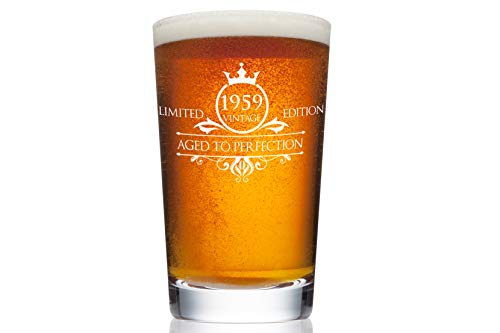 1959 60th Birthday Beer Pint Glass for Men or Women - Vintage Aged To Perfection Party Decorations - Funny Anniversary Gift Idea for Him, Her, Mom, Dad Husband or Wife - 16 oz Craft IPA Bar Mug
