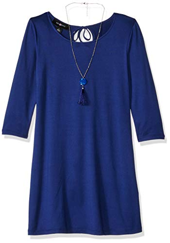 Girls Dresses With Sleeves (Amy Byer Girls' Big Line Dress with 3/4 Length Sleeves, Navy,)