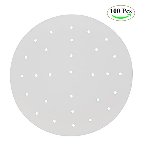 Premium Perforated Parchment Bamboo Steamer Paper Liners, NUIBY 9 Inch Round Non-stick Steaming Paper Mat - For Air Fryer, Steaming Basket, Cooking, Vegetables, Rice, Dim Sum - 100 Pack