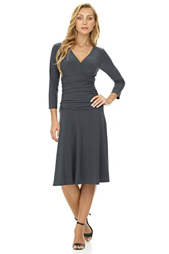 Bodice Dress Crossover (Rekucci Women's Slimming Long Sleeve Fit-and-Flare Crossover Tummy Control Dress (14,Charcoal))