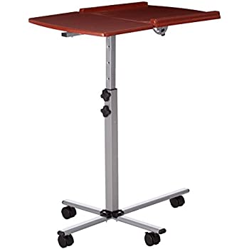 Flash Furniture Angle and Height Adjustable Mobile Laptop Computer Table with Cherry Top