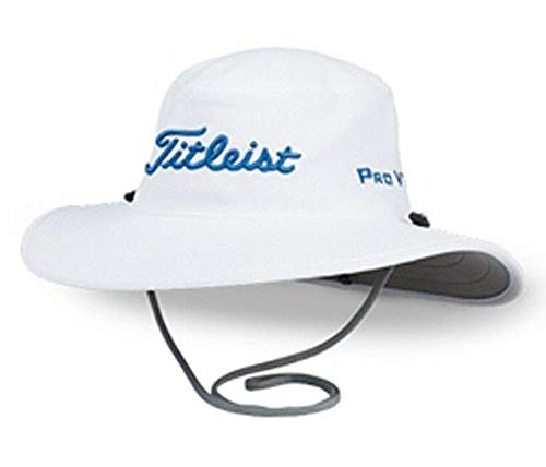 (Titleist Golf 2019 Tour Aussie Full Brim Sun Bucket Hat/Cap (White/Harbour Blue))