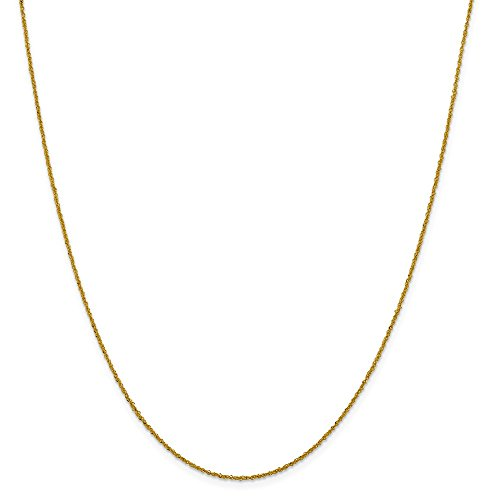 14k Yellow Gold 1 Mm Sparkle Link Singapore Chain Necklace 16 Inch Pendant Charm Fine Jewelry Gifts For Women For Her ()