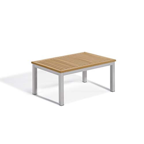 Oxford Garden Travira Coffee Table - Powder Coated Aluminum Frame - Natural Tekwood Top