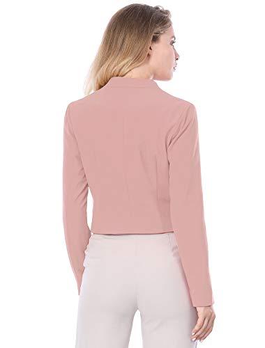 Allegra K Women's Collarless Work Office Business Casual Cropped Blazer 18