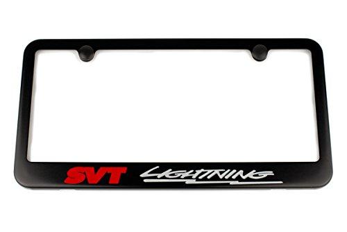 - High-End Motorsports Ford SVT Lightning License Plate Frame - Satin Black - Silver & Red Engraving - Made in USA