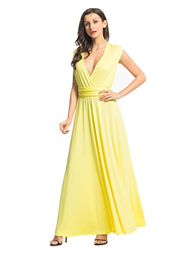 Clothink Women Yellow Infinity Plus Size Jersey Maxi Dress Yellow Small