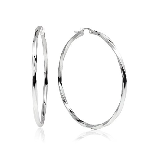 (LOVVE Sterling Silver High Polished Twist Round Click-Top Hoop Earrings, 2x50mm)