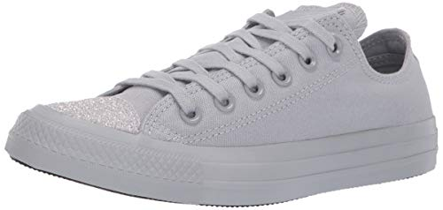 Converse Women's Unisex Chuck Taylor All Star Glitter Accent Low Top Sneaker Wolf Grey/Silver, 8.5 M US ()