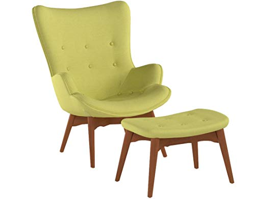 Christopher Knight Home 297009 Acantha Mid Century Modern Retro Contour Chair with Footstool, Muted Green