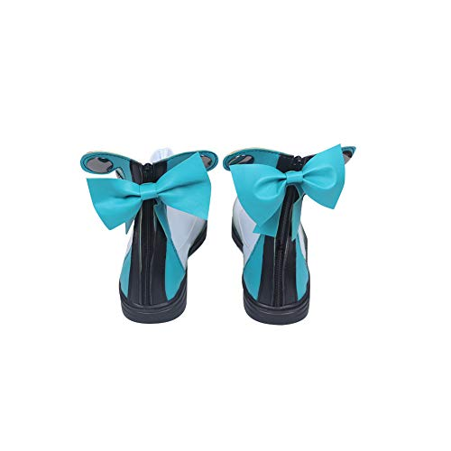 DUNHAO COS Anime Women's Vocaloid Hatsune Miku Magical Mirai 2017 Halloween Cosplay Custom Shoes Boots Male US 10/EU45 White -