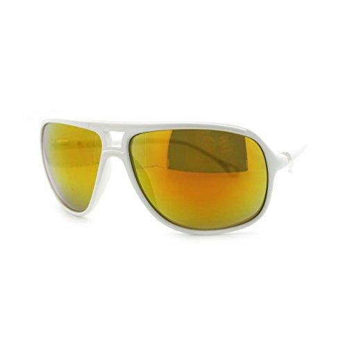 Mens mirrored Oversize Plastic Speed Racer Aviator Sunglasses Matte White - Frame White Aviators