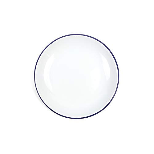 Enamelware Heavy Gauge Dinner Coupe Plate, 10.5 inch, Vintage White/Blue ()