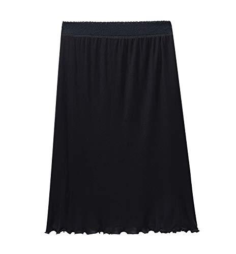 (XZ-Rain Women's 100% Pure Mulberry Silk Slip Charmeuse Nightgown Half Slip (Black, M))