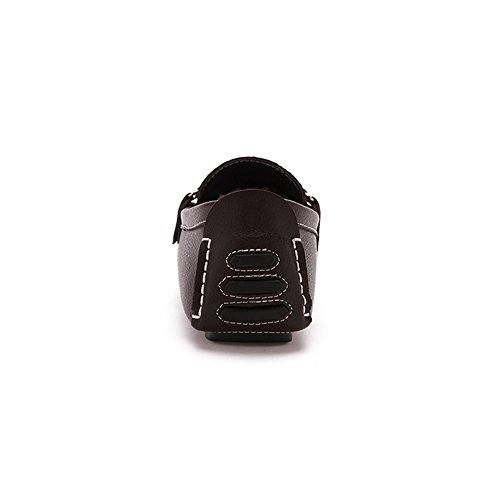 Santimon-mens Confortable En Cuir Véritable Conduite Chaussure Morsure Mocassins Mocassins Doug Chaussures Café
