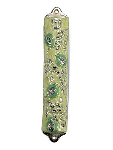 Creative Judaica Bless This House with Mezuzah Case - Mezuzah Cover, Pomegranate Tree Design Crafted in Pewter, Door Mezuza Case 4