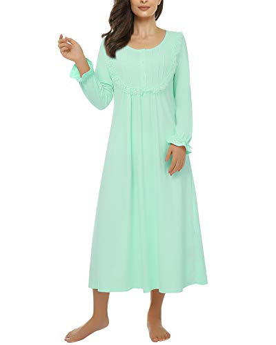Suzicca Women's Victorian Vintage Nightgown Princess Sleepwear Long Sleeve Lace Pajama Lace Nightdress Mint Green Large