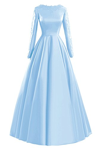 Bridal Women's Sleeves Prom Evening Bess Formal Long Blue Dresses Sky A Line Appliques Hw5TxAqT