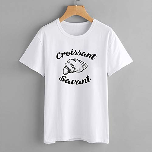 Vrtur Pour Blanc Manches Femme Imprimé Col À shirt En Dessinées Courtes Et T Bandes V rqXE6wHr