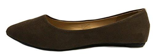 Zapatos8teen Mujeres Faux Suede Loafer Smoking Zapatos Pisos 3 Colores 8800 Brown Micro