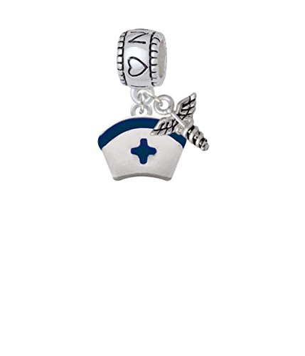 Silvertone Nurse Hat with Blue Cross I Heart Nursing with Mini Caduceus Charm Bead