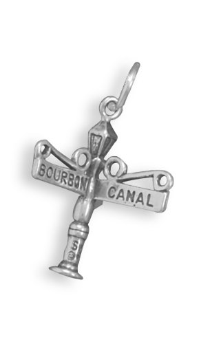 Corinna-Maria 925 Sterling Silver New Orleans Bourbon and Canal Street Sign Charm Comes with a Split (New Orleans Costume)
