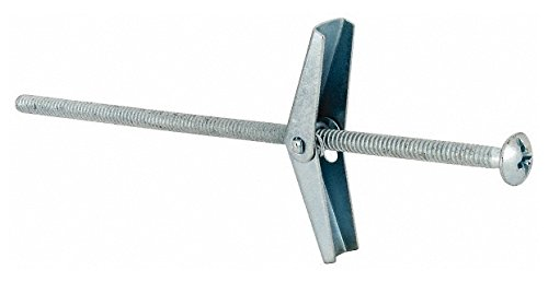 1/8'' Screw, 1/8'' Diam, 4'' Long, Toggle Bolt Drywall & Hollow Wall Anchor 3/8'' Drill, Zinc Plated, Steel, Grade Zamac 7, Use in Drywall & Wallboard