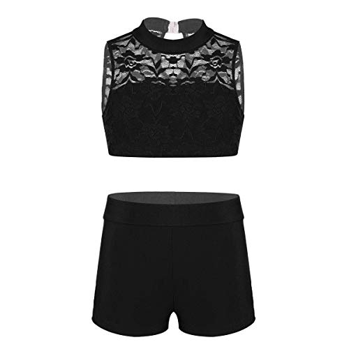 YiZYiF Kids Girls Basic 2 Piece Active Outfit Crop Top and Shorts Set for Gymnastics/Dancing/Workout Zo Sleeveless Black 7-8