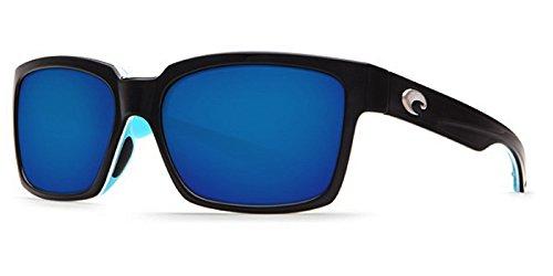 Costa Del Mar Playa Sunglass, Black/White/Aqua/Blue Mirror 580Plastic