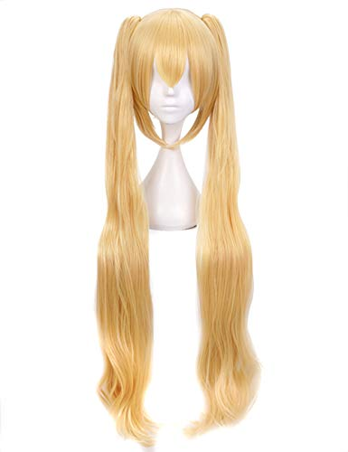 Anogol Hair Cap+Long Ponytails Golden Blonde Wig Natural Wave for Anime Cosplay Costume Synthetic Hair Wig]()