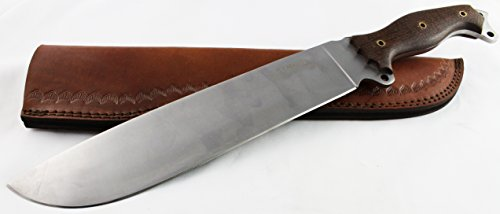 "D2 Machete Knife - Moorhaus Handmade 17.5"" Total Length - Includes Leather Sheath"