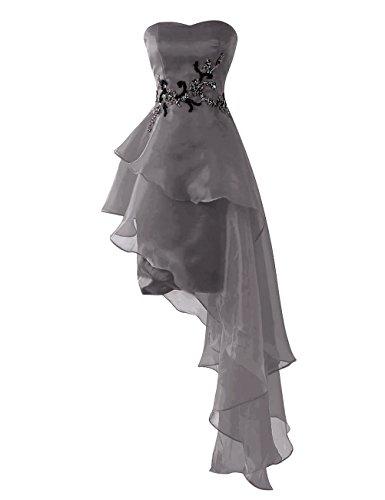 Abiballkleid Grau Dresstells Asymmetrische mit Ballkleid Friesen Brautjungfernkleider Damen rIr0wq1