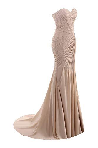 Strapless Elegant Chiffon Hot Sweetheart ASBridal Floor Bridesmaid Womens Dress Pink Length q4XpxOw