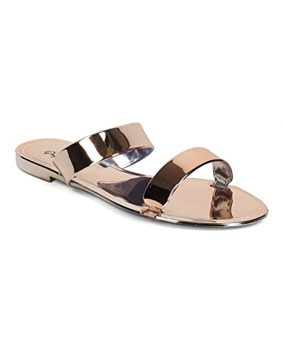 Alrisco Women Mirror Metallic Open Toe Double Band Slip On Sandal - HF69 by Qupid Collection - Rose Gold Metallic (Size: (Gold Double Lace)