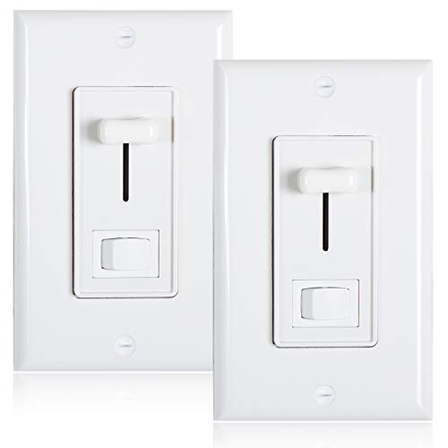 Maxxima 3-Way/Single Pole Dimmer Electrical light Switch 600 Watt max, LED Compatible, Wall Plate Included (2 ()