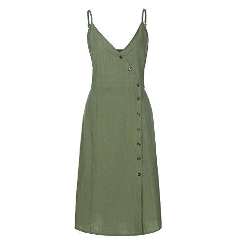 ★Kawaiine★_Clothing KawaiiWomen's Summer Spaghetti Strap Solid Color Button Down Swing Midi Dress Green