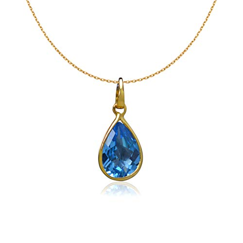 (Euforia Jewels 14K Yellow Gold AAA Quality 3.87 Carats Pear Cut Natural Swiss Blue Topaz Pendant For Women With Complimentary 925 Sterling Silver Chain)