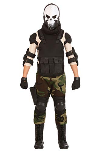 Boy's Skull Military Costume Skull Soldier Costume for Kids X-Large -